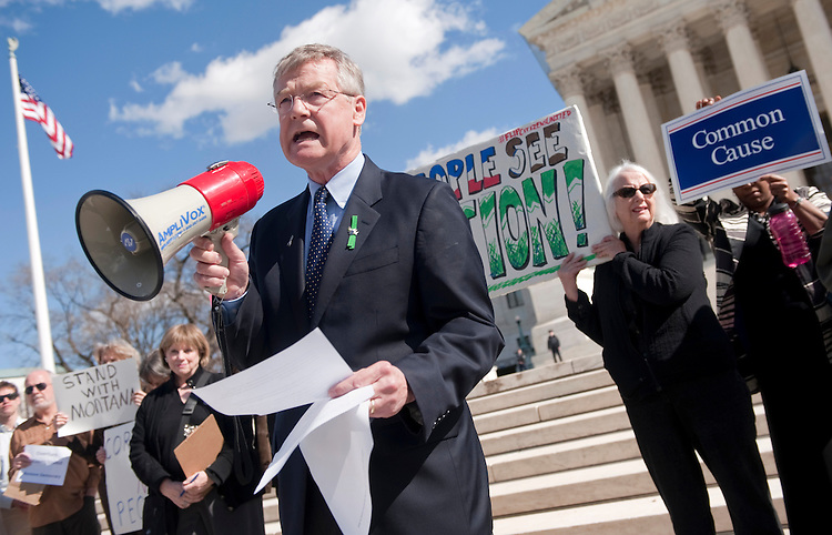 UNITED STATES - FEBRUARY 23:  Bob Edgar, president of Common Cause, speaks at protest to urge the Supreme Court to overturn Citizens United v. Federal Election Commission. (Photo By Chris Maddaloni/CQ Roll Call)