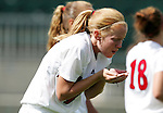 Michelle Massey, of NC State, bleeds profusely from her nose after a collision on Sunday October 2nd, 2005 at SAS Stadium in Cary, North Carolina. The Duke University Blue Devils defeated the North Carolina State University Wolfpack 1-0 during an Atlantic Coast Conference women's soccer game.
