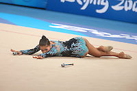 August 23, 2008; Beijing, China; Rhythmic gymnast Simona Peycheva of Bulgaria finishes with clubs on way placing 10th in the Individual All-Around final at 2008 Beijing Olympics..(©) Copyright 2008 Tom Theobald