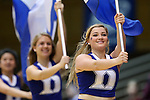 22 March 2015: Duke cheerleaders. The Duke University Blue Devils hosted the Mississippi State University Bulldogs at Cameron Indoor Stadium in Durham, North Carolina in a 2014-15 NCAA Division I Women's Basketball Tournament second round game. Duke won the game 64-56.