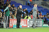 Cardiff City Stadium, Friday 11th Oct 2013. Is that what Wales manager Chris Coleman thinks of some of the referee's decisions during the Wales v Macedonia FIFA World Cup 2014 Qualifier match at Cardiff City Stadium, Cardiff, Friday 11th Oct 2014. All images are the copyright of Jeff Thomas Photography-07837 386244-www.jaypics.photoshelter.com