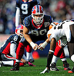 11 October 2009: Buffalo Bills' defensive end Chris Kelsay defends a fieldgoal attempt during a game against the Cleveland Browns at Ralph Wilson Stadium in Orchard Park, New York. The Browns defeated the Bills 6-3 for Cleveland's first win of the season...Mandatory Photo Credit: Ed Wolfstein Photo