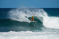 North Shore, Oahu, HAWAII - (Sunday, Nov. 24, 2013) -- Tahiti's Michel Bourez (PYF) has won the REEF Hawaiian Pro, the $40,000 prize purse, and takes an early lead of the Vans Triple Crown of Surfing hydrated by vitaminwater&reg;. Bourez, 27, built momentum through the earlier rounds of this competition and was clearly unstoppable by the final. He survived a late charge by Haleiwa local Fred Patacchia, 31, and was well clear of Jeremy Flores (France) and Dion Atkinson (Australia), who finished third and fourth respectively.<br /> This is Bourez's second victory at the REEF Hawaiian Pro, having first won here in 2008. His combination of stylish power surfing and impeccable wave selection made him the man to beat through the final rounds of competition today. A strong surfer in big waves and a great Tahitian tube rider, he is definitely capable of winning the Vans Triple Crown this year.<br /> The most relieved athlete today was Dion Atkinson, 27, from South Australia. Atkinson entered the REEF Hawaiian Pro with work to be done if he is to qualify for the 2014 elite ASP World Championship Tour. With this result, he climbed into qualification position today, has taken off a little pressure going into Sunset, and will now be looking to maintain form in order to make his pro surfing dreams come true.  Photo: joliphotos.com