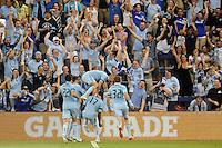 Sporting KC players celebrate C.J Sapong's goal...Sporting KC defeated San Jose Earthquakes 1-0 at LIVESTRONG Sporting Park, Kansas City ,Kansas,..