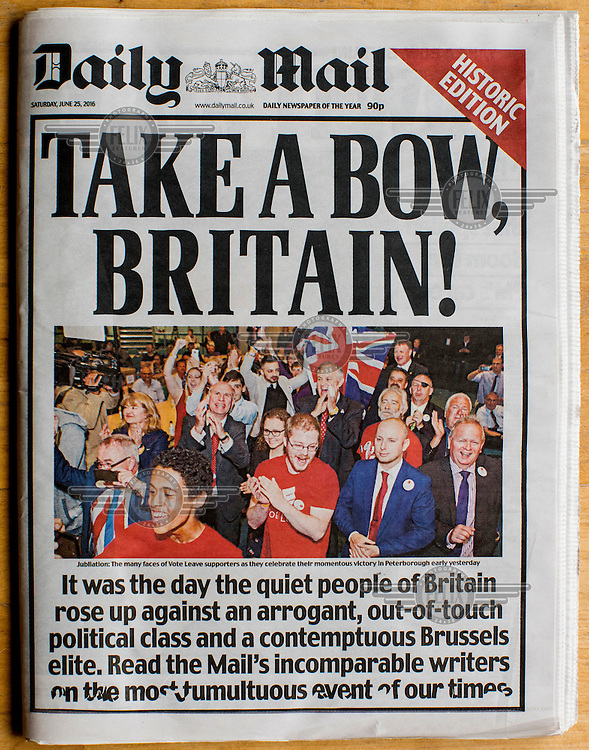 The front cover of the deeply Eurosceptic tabloid, The Daily Mail, on 25 June 2016, two days after the EU referendum. The Mail supported the Leave (the EU) side during the campaign leading up to the vote.