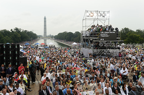 A crowd cheers as US President Barack Obama (not pictured) delivers remarks during the 'Let Freedom Ring' commemoration event, at the Lincoln Memorial in Washington DC, USA, 28 August 2013. The event was held to commemorate the 50th anniversary of the 28 August 1963 March on Washington led by the late Dr. Martin Luther King Jr., where he famously gave his 'I Have a Dream' speech.<br /> Credit: Michael Reynolds / Pool via CNP