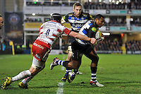 Semesa Rokoduguni of Bath Rugby takes on the Gloucester defence. Aviva Premiership match, between Bath Rugby and Gloucester Rugby on February 5, 2016 at the Recreation Ground in Bath, England. Photo by: Patrick Khachfe / Onside Images