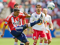 Chivas USA defender Michael Umana (4) clears a ball from the box. Chivas USA defeated the Red Bulls of New York 2-0 at Home Depot Center stadium in Carson, California April 10, 2010.  .