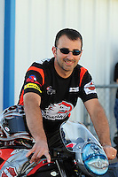 Sept. 24, 2011; Ennis, TX, USA: NHRA pro stock motorcycle rider Eddie Krawiec during qualifying for the Fall Nationals at the Texas Motorplex. Mandatory Credit: Mark J. Rebilas-