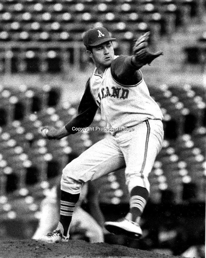 Oakland Athletics pitcher Jim &quot;Catfish&quot; Hunter hurls a perfect game against the Minnesota Twins May 1968.<br />(copyright May 8,1968 photo by Ron Riesterer)