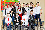 Sam Lenihan, Matthew Counihan, Christopher Doody, Philip Lyne, Jack Cronin, back row: Cian Myers, Billy O'Sullivan, Conor McLoughlin, Amy Coffey, Scott Carlton, Alison Butler, Aaron Coffey, Gavin O'Leary and Luke Murphy who performed in the Fossa NS musical Grease on Thursday night