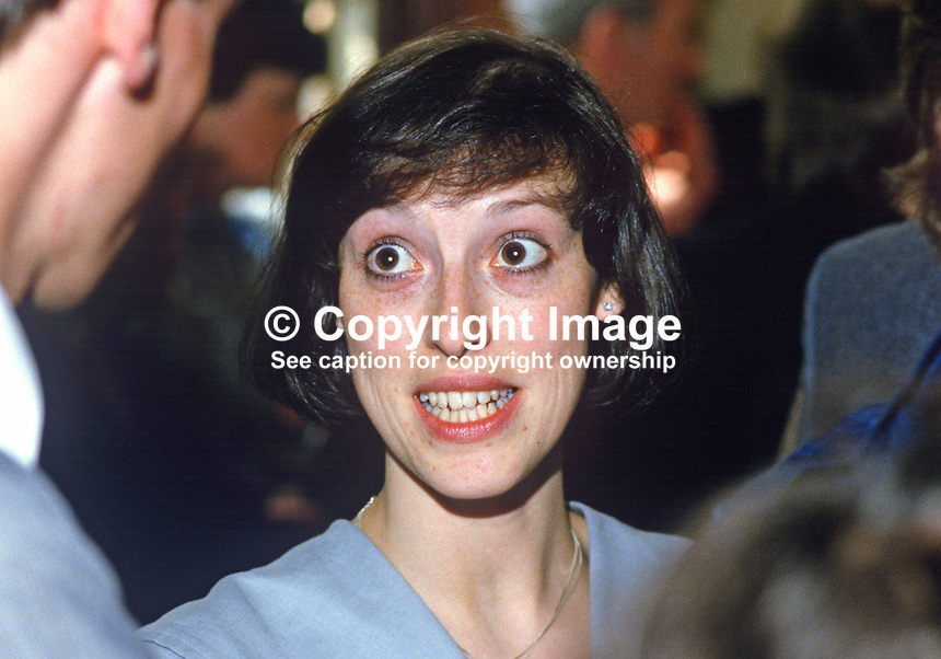 Rhonda Paisley, daughter of Rev Ian Paisley, pictured at the 1984 European Election count. Her father, the Democratic Unionist, candidate, topped the poll. 19840083RP2..Copyright Image from Victor Patterson, 54 Dorchester Park, Belfast, UK, BT9 6RJ..Tel: +44 28 9066 1296.Mob: +44 7802 353836.Voicemail +44 20 8816 7153.Skype: victorpattersonbelfast.Email: victorpatterson@me.com.Email: victorpatterson@ireland.com (back-up)..IMPORTANT: If you wish to use this image or any other of my images please go to www.victorpatterson.com and click on the Terms & Conditions. Then contact me by email or phone with the reference number(s) of the image(s) concerned.