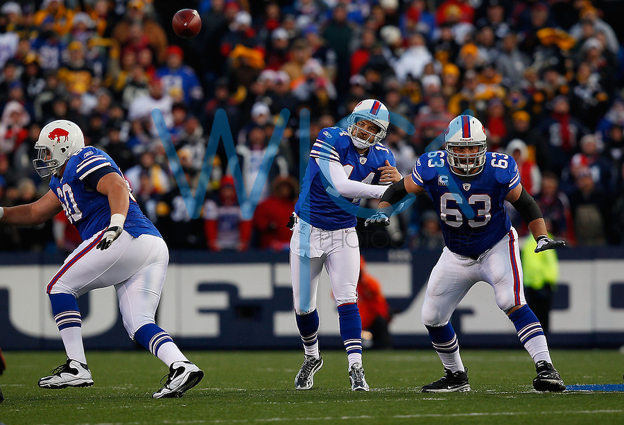 ORCHARD PARK, NY - NOVEMBER 28:  Ryan Fitzpatrick #14 of the Buffalo Bills drops back to pass during the game against the Pittsburgh Steelers on November 28, 2010 at Ralph Wilson Stadium in Orchard Park, New York.  (Photo by Jared Wickerham/Getty Images)