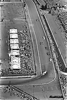 DETROIT, MI - JUNE 23: An overhead view of Formula 1 Grand Prix cars competing during the Detroit Grand Prix FIA Formula One World Championship race at the Detroit Street Circuit in Detroit, Michigan, on June 23, 1985.