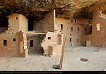 Restored Kivas and Three Story House, Spruce Tree House Cliff Dwelling, Anasazi Hisatsinom Ancestral Pueblo Site, Chapin Mesa, Mesa Verde National Park, Colorado