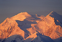 Sunrise on the North and South peaks of Denali, (Mt. McKinley) north America's highest mountain.