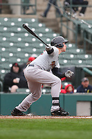 Scranton Wilkes-Barre Railriders center fielder Slade Heathcott (12) bats against the Rochester Red Wings on May 1, 2016 at Frontier Field in Rochester, New York. Red Wings won 1-0.  (Christopher Cecere/Four Seam Images)