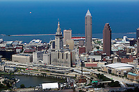aerial view above downtown Cleveland public square Lake Erie Cuyahoga river