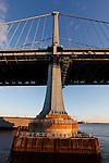 A column of the Benjamin Franklin Bridge from the Race Street Pier in Philadelphia, Pennsylvania on January 18th 2012. (Photo By Brian Garfinkel)