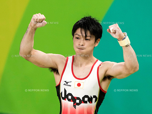 Kohei Uchimura (JPN),<br /> AUGUST 8, 2016 - Artistic Gymnastics :<br /> Kohei Uchimura of Japan celebrates after performing on the pommel horse in the Men's Team Final at Rio Olympic Arena during the Rio 2016 Olympic Games in Rio de Janeiro, Brazil. (Photo by Enrico Calderoni/AFLO SPORT)