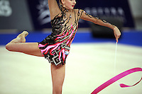 September 21, 2007; Patras, Greece;  Vera Sessina of Russia balances with ribbon (artistic impression image) during the All-Around final at 2007 World Championships Patras.  Vera placed 2nd in the AA to qualify Russia for 1st of 2 positions in the individual All-Around competition at Beijing 2008 Olympics Games.  Photo by Tom Theobald. .