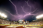 With the game under a lightning delay, Texas State warms up in Doak Campbell Stadium prior to an NCAA college football game against Florida State in Tallahassee, Fla., Saturday, Sept. 5, 2015. (AP Photo/Mark Wallheiser)