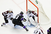 Kyle Clifford (Los Angeles Kings, #13) vs Brian Elliott (Colorado Avalanche, #30) during ice-hockey match between Los Angeles Kings and Colorado Avalanche in NHL league, Februaryy 26, 2011 at Staples Center, Los Angeles, USA. (Photo By Matic Klansek Velej / Sportida.com)