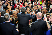 United States President Barack Obama shakes hands with students following his remarks on the FY 2013 Budget at Northern Virginia Community College in Annandale, Virginia on Monday, February 15, 2012..Credit: Ron Sachs / Pool via CNP