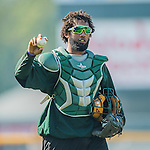 29 July 2016: Vermont Lake Monsters catcher Miguel Guzman warms up prior to a game against the Brooklyn Cyclones at Centennial Field in Burlington, Vermont. The Cyclones defeated the Lake Monsters 8-5 in NY Penn League play.  Mandatory Credit: Ed Wolfstein Photo *** RAW (NEF) Image File Available ***