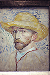 Vincent van Gogh (1853-90) Self-Portrait with a Straw Hat and Artist's Smock, 1887.  The Musee d'Orsay