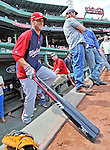 9 June 2012: Washington Nationals outfielder Bryce Harper awaits his turn in the batting cage prior to a game against the Boston Red Sox at Fenway Park in Boston, MA. The Nationals defeated the Red Sox 4-2 in the second game of their 3-game series. Mandatory Credit: Ed Wolfstein Photo