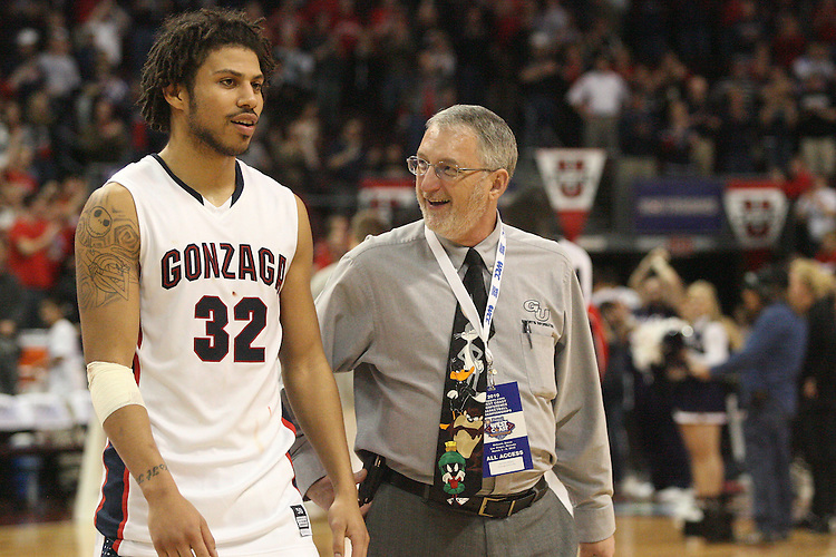 LAS VEGAS, NV - MARCH 7:  SID Oliver Pierce with Steven Gray during the Gonzaga Bulldogs 77-62 win over Loyola Marymount in the WCC Basketball Tournament on March 7, 2010 at Orleans Arena in Las Vegas Nevada.