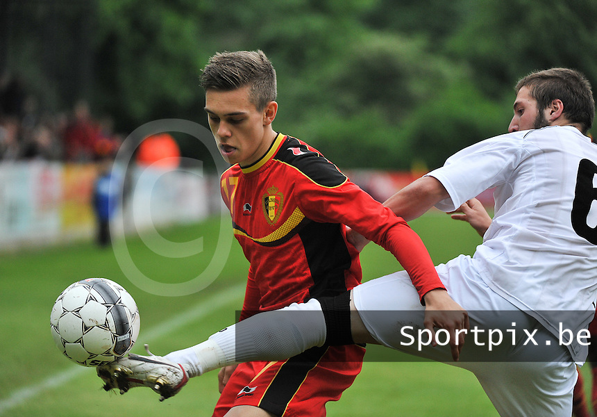 Georgia U19 - Belgium U19 : Leandro Trossard (17) and Daviti Ubilava (right)<br /> foto DAVID CATRY / Nikonpro.be