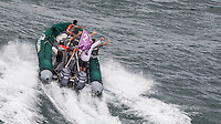 BRAZIL, Itajai.10th April 2012. Volvo Ocean Race. Groupama shore crew welcome the boat to Itajai.