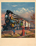 Vintage Illustration:  The fast mail (train) c1875.