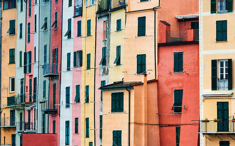 Colorful house facades, Porto Venere, Liguria, Italy
