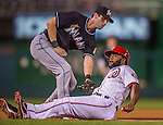 20 September 2013: Washington Nationals outfielder Denard Span slides safely into third during game action against the Miami Marlins at Nationals Park in Washington, DC. The Nationals defeated the Marlins 8-0 to take the second game of their 4-game series. Mandatory Credit: Ed Wolfstein Photo *** RAW (NEF) Image File Available ***