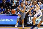 24 January 2016: North Carolina's Stephanie Watts (left) and Duke's Faith Suggs (right). The Duke University Blue Devils hosted the University of North Carolina Tar Heels at Cameron Indoor Stadium in Durham, North Carolina in a 2015-16 NCAA Division I Women's Basketball game. Duke won the game 71-55.
