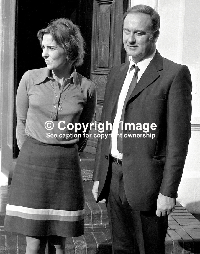 Ulster Unionist politician William Craig, along with his German-born wife Doris, outside his Belfast home following an assassination attempt in which his car was shot at. 197210040611a<br /> <br /> Copyright Image from Victor Patterson, 54 Dorchester Park, Belfast, UK, BT9 6RJ<br /> <br /> t: +44 28 90661296<br /> m: +44 7802 353836<br /> vm: +44 20 88167153<br /> e1: victorpatterson@me.com<br /> e2: victorpatterson@gmail.com<br /> <br /> For my Terms and Conditions of Use go to www.victorpatterson.com