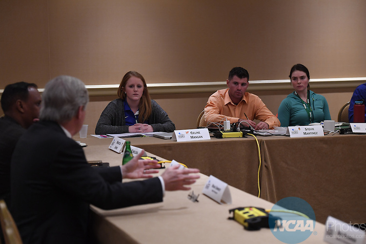17 JAN 2017:  The NCAA Division II SAAC meeting takes place during the 2017 NCAA Convention takes place at the Gaylord Opryland Resort & Convention Center in Nashville, TN. Justin Tafoya/NCAA Photos (Pictured: Celine Mangin and Stevie Martinez)