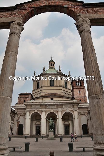 Roman Colonne di San Lorenzo in front of the Basilica of San Lorenzo in Milan, Italy