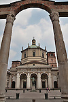 Roman Colonne di San Lorenzo in front of the Basilica of San Lorenzo in Milan, Italy