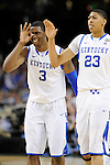 2 APR 2012: Teammates Terrence Jones (3) and Anthony Davis (23) from the University of Kentucky celebrate during the Championship Game of the 2012 NCAA Men's Division I Basketball Championship Final Four held at the Mercedes-Benz Superdome hosted by Tulane University in New Orleans, LA. Kentucky defeated Kansas 67-59 to claim the championship title. Ryan McKeee/ NCAA Photos.