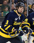 Kyle Bigos (Merrimack - 3) - The Merrimack College Warriors defeated the University of New Hampshire Wildcats 4-1 in their Hockey East Semi-Final on Friday, March 18, 2011, at TD Garden in Boston, Massachusetts.