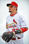 8 March 2012: St. Louis Cardinals' infielder Tyler Greene stands outside the dugout prior to a Spring Training game against the Boston Red Sox at Roger Dean Stadium in Jupiter, Florida. The Cardinals defeated the Red Sox 9-3 in Grapefruit League action. Mandatory Credit: Ed Wolfstein Photo