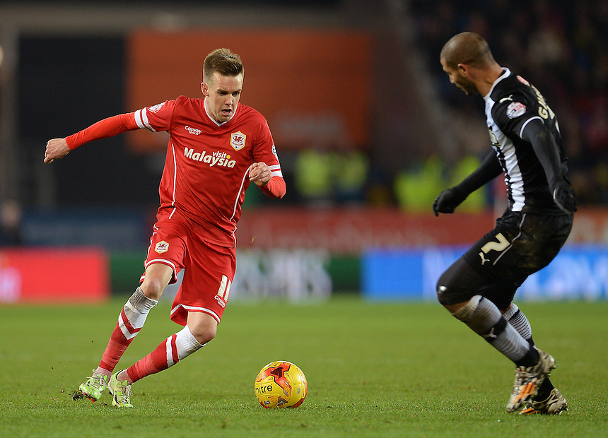 Cardiff City's Craig Noone in action during todays match  <br /> <br /> Photographer Ian Cook/CameraSport<br /> <br /> Football - The Football League Sky Bet Championship - Cardiff City v Watford - Saturday 28th December - Cardiff City Stadium - Cardiff<br /> <br /> &copy; CameraSport - 43 Linden Ave. Countesthorpe. Leicester. England. LE8 5PG - Tel: +44 (0) 116 277 4147 - admin@camerasport.com - www.camerasport.com