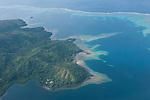 Vanua Levu, Fiji; aerial view of coral reefs while flying from Viti Levu to Taveuni