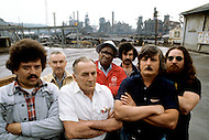 Braddock, Pennsylvania, U.S.A, DEcember, 1980. America severly marked by the recession. Unemployed workers in front of their steel factory now closed.