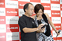 Actress Aya Ueto, who is the image character of mobile carrier SoftBank, appears at a promotional event of Apple Computer's iPhone in Tokyo together with SoftBank CEO Masayoshi Son.  11 July, 2008. (Erika Aragon/JapanToday/Nippon News)