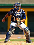 12 July 2007: Mahoning Valley Scrappers catcher Alex Castillo warms up prior to a game against the Vermont Lake Monsters at Historic Centennial Field in Burlington, Vermont. The Scrappers defeated the Lake Monsters 11-2 in the first game of their NY Penn-League double-header...Mandatory Photo Credit: Ed Wolfstein Photo